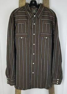 Lucky Brand men XL brown pearl snap long sleeve shirt Equestrian cotton