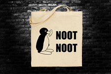 Pingu Noot Noot meme inspired tote bag long handles funny gift shopping