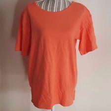 NEW Erika & Company Short Sleeve Cotton Shirt Padded Shoulder Sweet Orange Small