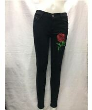 BLACK SKINNY JEANS RED ROSE EMBROIDERED SIZE 28