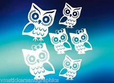 Owl Family vinyl stickers decals car truck suv laptop bow wall home hoot wise