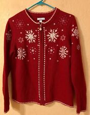 Croft & Barrow Womens Sweater Small Full Zip Cardigan Red Christmas Snowflake
