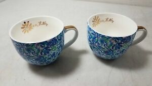 Lilly Pulitzer Pair of Floral Coffee Mug Cups