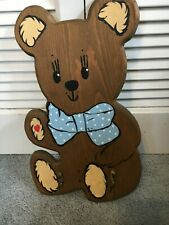 Adorable Hand Painted Wood Coat/Garment Rack Shape Baby Bear/Colonial Woodcraft
