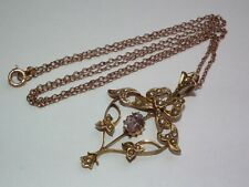 Beautiful Antique c1900 Solid 9ct Gold Natural Amethyst & Pearl Pendant & Chain