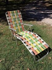 Vtg Aluminum Webbed Folding Lawn Chaise Lounge Chair Beach Yellow Orange & Green