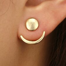 1 Pair Gold Crescent Moon Stud Earring Double Side Geometric Ear Fashion Jewelry