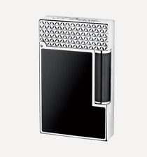 NEW ST Dupont Ligne 2 Black Chinese Lacquer & Palladium Fire Head Lighter 016746