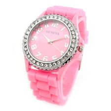 Pink Silicone Rubber Gel Band Crystal Bezel Women's Watch