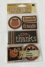EK SUCCESS Harvest Fall Thanksgiving EMBROIDERED STICKERS Scrapbook Paper NEW