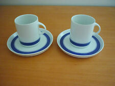 SET OF 2 GORGEOUS VINTAGE RETRO THOMAS GERMANY CUPS, SAUCERS W/ BLUE BANDS