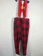 Vintage Hunting Buffalo Plaid Wool Overalls Men's 34 by 30 Inseam Pants