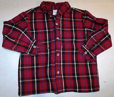 Red Black Blue White Plaid Button Down Long-Sleeve Preppy Dress Shirt 3T C-2