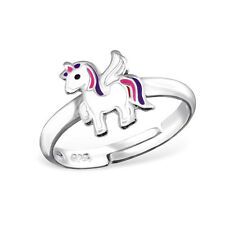 925 Sterling Silver Adjustable Magical Unicorn Pegasus Kawaii Ring