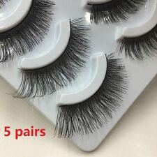 5 Pairs Set Makeup Cross Thick False Eyelashes Black Eye Lashes Nautral Handmade