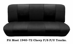 Black Mesh Bench Seat Cover Fit Most 1940~72 Chevy Full size Trucks Models