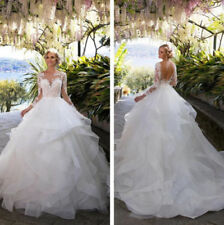 White/Ivory Wedding Dresses Bridal Ball Gowns Sweetheart Neck Lace Long Sleeves
