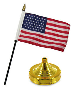 "45 Star USA Historical 4""x6"" Flag Desk Table Wood Stick Staff Gold Base"