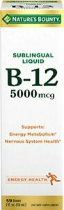Nature's Bounty B-12 5000 mcg Sublingual Liquid Energy Health, 2 Fl Oz