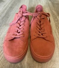 Toms Pink Suede Leather Casual Cut Out Women's Tennis Shoes Sneakers Size 7.5