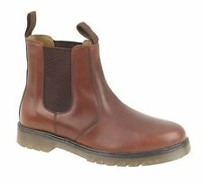 MENS MID BROWN LEATHER SIZE 7 8 9 10 11 12 AIR CUSHION SLIP DEALER CHELSEA BOOTS
