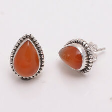 925 Sterling Silver Stud Earrings, Natural Carnelian Gemstone Jewelry CE356