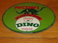 "VINTAGE 1964 SINCLAIR DINO GASOLINE W/ DINOSAUR 11 3/4"" PORCELAIN METAL OIL SIGN"