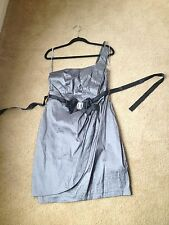 Gunmetal Silver One-Shoulder Pleated Bow Prom or Formal Dress