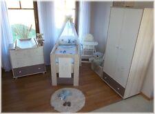 Babyzimmer Häschen blau Babybett Kinderbett  Wickelkommode Schrank Komplettset !