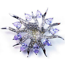 USA BROOCH use Swarovski Crystal PIN flower leaves silver platinum purple star