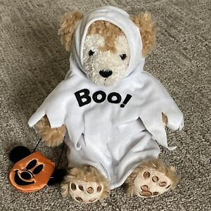 Disney Parks DUFFY THE DISNEY BEAR Halloween GHOST Boo White Costume Plush HTF