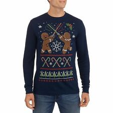 Mens Large Light saber duel Ugly Christmas Sweater Thermal Shirt Gingerbread new