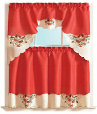 3-Piece Holiday Embroidered design Christmas Decor Kitchen Curtain Set Red