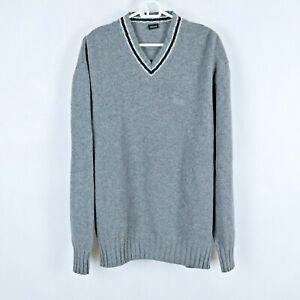 HUGO BOSS Vintage Mens Grey V Neck Merino Wool Jumper Pullover SIZE XL