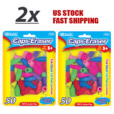 Lot of 2 Eraser Caps Assorted Colors Learning pencil marks Eraser 50 / Pack