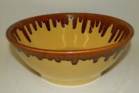 Vintage Watt Pottery Orchard Ware Brown Drip Glaze Large Yellow Farmhouse Bowl