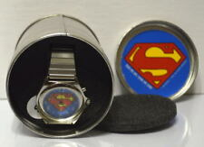 SUPERMAN Metal WATCH w Clasp Metal Band in ORIGINAL CANISTER 1998 DC MIB