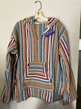 Baja Hoodie Multi-stripe Size XL Unisex 100% Cotton
