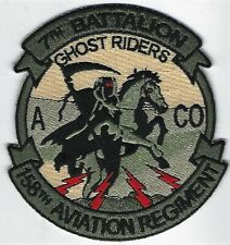 US ARMY A-CO 7-158 AVN REGT PATCH- 'GHOST RIDERS'                       MULTICAM