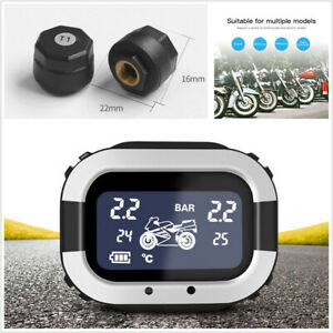 Motorcycle Tire Pressure Monitoring System TPMS LCD Display w/2 External Sensors
