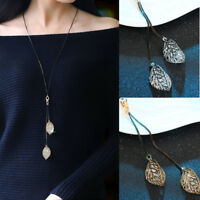 Women Fashion Jewelry Hollow Crystal Leaf Pendant Long Chain Sweater Necklace
