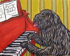 Bouvier Des Flandres piano Dog art Print 13x19 folk pop Art Jschmetz poster