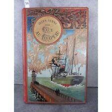 Hetzel Jules Verne Face au Drapeau Steamer Médaillon doré Voyages extraordinaire