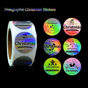 500pcs/roll Christmas Laser Sticker Sealing Holographic Label Gift Wrapping Tags
