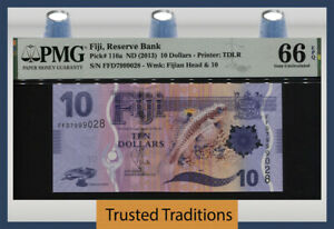 TT PK 116a ND (2013) FIJI 10 DOLLARS BELI FISH BEAUTIFUL MODERN NOTE PMG 66 EPQ!