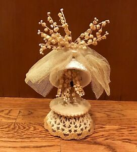 RARE HTF Antique 1900's Porcelain Bisque Bell & Flowers Wedding Cake Topper