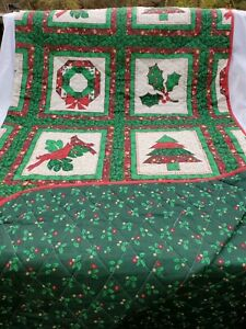 Domestications Queen Reversible Quilt Holly Christmas Tree Cardinal Wreath