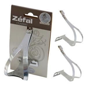 Retro Zefal Christophe Classic Chrome Steel Road Track Bike Toe Clips + Fittings