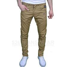 Crosshatch Mens DESIGNER Twisted Leg Regular Fit Tapered Chinos Jeans Tan 36w 30l