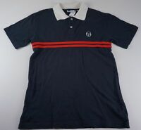 Sergio Tacchini Poloshirt Polohemd Gr.S blau gestreift Knopfleiste -435